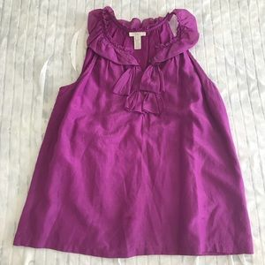 J.Crew Berry Ruffle Neck Sleeveless Blouse